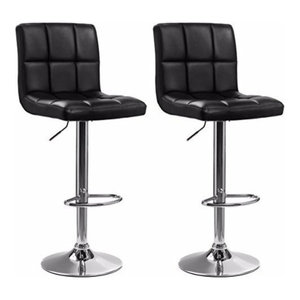 Consigned Set of 2 Bar Stools, Faux Leather, Adjustable Swivel Gas Lift, Black