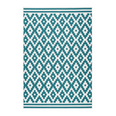 Low-Pile Patterned Area Rug, Ivory and Turquoise, 80x150 cm