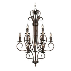 3 Tier Chandelier Rubbed Bronze Candlesticks