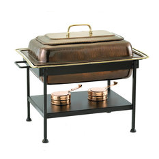 """23"""" x13""""x19"""" Rectangular Ant. Cop. over S/S Chafing Dish, 8 Qt."""