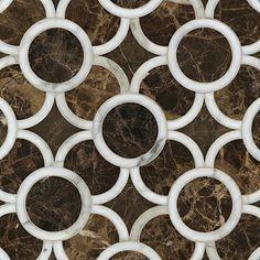 Marble Circle on Dark Emperador Mosaic - Tile