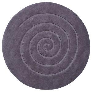 Spiral Grey Circle Rug, 180x180 cm