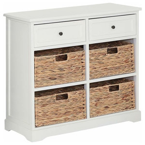 Traditional Storage Cabinet, Solid Wood With 2-Drawer and 4-Wicker Baskets