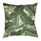 Banana Leaf, Green, White, 18x18x4