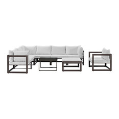 lexmod fortuna 9 piece outdoor patio sectional sofa set in brown white outdoor lounge brown set patio source outdoor