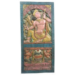 Mogulinterior - Indian Carving Door Panel Wood Sculpture - The flute is the instrument of love of Hindu god Krishna. it is intimately linked to the love story of Krishna and Radha. The flute is revered as Lord Krishna's divine instrument and is often associated with Krishna's Rasa lila dance.