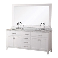 "Design Element DEC076A-W London 61"" Double Sink Vanity Set, White"