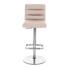 Lush Adjustable Height Swivel Armless Barstool With Chrome Base Taupe