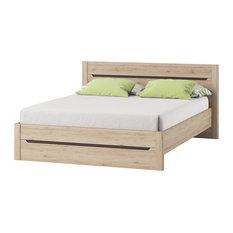 Desjo Platform Bed with mattress 62.9 x 78.7 inch