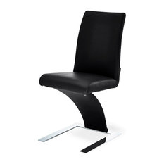 Modern Mesa Dining Chair in Black Leatherette and Stainless Steel