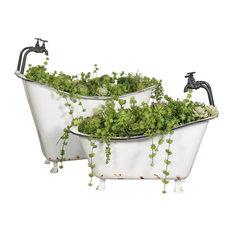 Metal Tub Planters Set of 2, White/Black