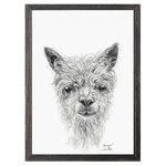 """GreenBox Art + Culture - """"Llama Draw You A Portrait - Sawyer"""" Mini Framed Canvas by Kristin Llamas - Black and white llama illustration."""