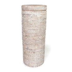White Wash Rattan Toilet Paper Roll Basket