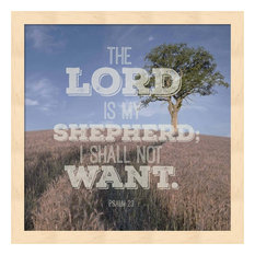 "Psalm 23 The Lord is My Shepherd, B&W by Inspire Me Framed Art 13.25""x13.25"""
