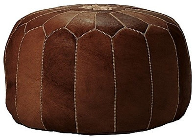Mediterranean Floor Pillows And Poufs Tan Moroccan Leather Pouf