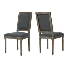GDF Studio Margaret Traditional Fabric Dining Chairs, Dark Gray, Set of 2