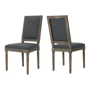 GDF Studio Margaret Traditional Fabric Dining Chairs, Dark Gray, Set of 2