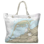 Island Girl Home, Inc. - Erie Harbor, Presque Isle, PA Nautical Chart Tote Bag - Each tote is made of a water-repellent polyester that is mold and mildew resistant along with a comfortable cotton rope handle and a styrene lined bottom. Print covers the entire bag with a solid colored bottom in a coordinating color. Same design on both sides. NOTE: Image is for design and handle view only. This bag does not stand on its own. It can be folded for easy storage.