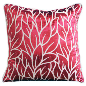 Red Burnout Velvet 40x40 Leaf Design Throw Cushions Cover, Cayenne Red Leaves