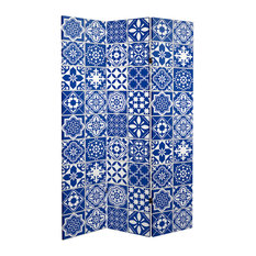 6' Tall Double Sided Blue and White Tile Canvas Room Divider