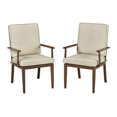 Home Styles Key West Patio Dining Arm Chair in Chocolate (Set of 2)