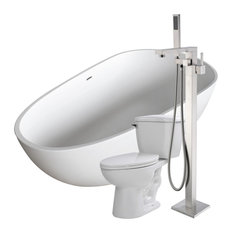 """ANZZI 67"""" Man-Made Stone Soaking Bathtub With Faucet and 1.28 GPF Toilet"""