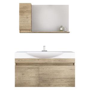 "DP Wall Bath Vanity Cabinet Set 41.3"" Single Sink With Laminated PL Wood Finish"