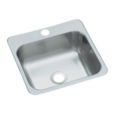 """Sterling  15""""x15"""" Stainless Steel Single Bowl Kitchen Sink, Satin"""