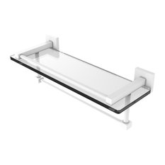 "Montero Collection 16"" Gallery Glass Shelf With Towel Bar, Matte White"