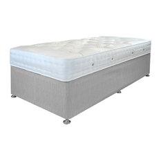 Aria Damask Mattress and Platform Divan Bed Set, Grey, Single