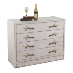 43-inch Cabinet 4 Drawers Deer Antler Handles Reclaimed Pine Wood Beach Dresser