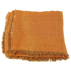 """Double"" Linen Throw With Fringing, Orange"