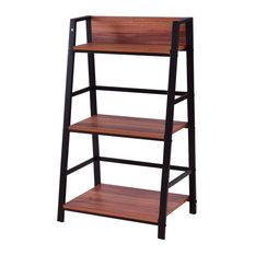 Costway 3 Tier Ladder Storage Book Shelf Bookcase Bundle Modern Floor Decor