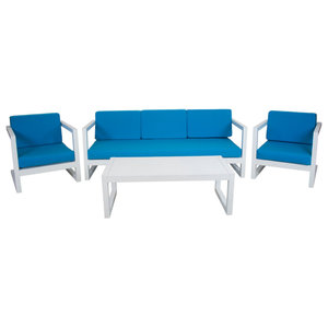 Outdoor 4-Piece Alhama Furniture Set With 3-Seater Sofa, White