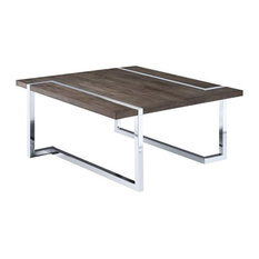 Magnussen Kieran Square Coffee Table in Charcoal and Chrome