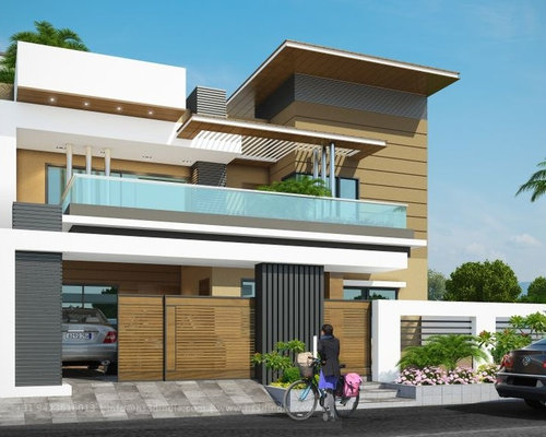 3d modern bungalow exterior elevation day rendering by hs for Modern bungalow elevation