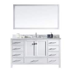 "Virtu Caroline Avenue 60"" Single Bathroom Vanity, White, Mirror"