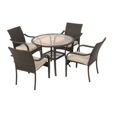 GDF Studio 5-Piece Novena Outdoor Brown Wicker Dining With Cushions Set
