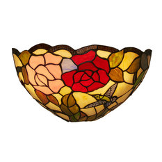 Itu0027s Exciting Lighting   Rose And Leaves Battery Powered Tiffany Style  Sconce   Wall Sconces