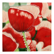 Red Poppy With White Tile