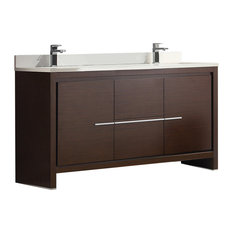 "Fresca Allier 60"" Wenge Brown Double Sink Bathroom Cabinet With Top & Sinks"