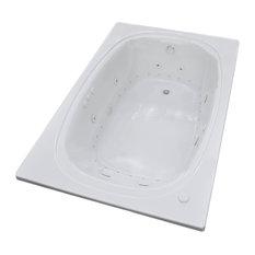 Caravaggio 48 x 78 Air & Whirlpool Drop-In Bathtub w/ Center Drain - Left Pump