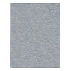 "Solid/Striped Garden Variety 9'4""x12' Rectangle Sky Area Rug"