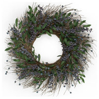 "Fresh Blueberry Wreath 24"", Set Of 1"