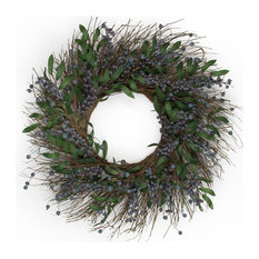 "MILLS FLORAL - Fresh Blueberry Wreath 24"", Set Of 1 - Wreaths and Garlands"