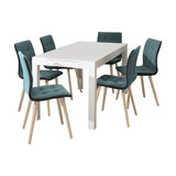 Angala Dining Table And Fridi Chairs, Light Petrol Fabric, 6 Chairs