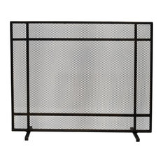 Markus Modern Single Panel Iron Fire Screen, Black Brushed Gold Finish