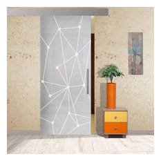 "Sliding Barn Glass Door with Geometric Full Private Sandblasted Design, 38""x84"""