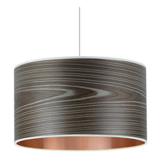 Open Grain Grey and Copper Wood Veneer Drum Lampshade, 35 Cm