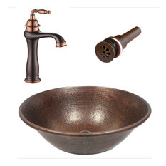 """14"""" Round Copper Vessel Bath Sink with Daisy Drain and ORB Faucet with Rose Gold"""